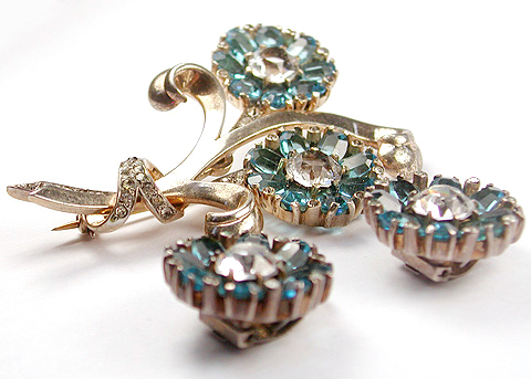 Mazer Sterling Aquamarine Flowers Pin And Clip Earrings Set