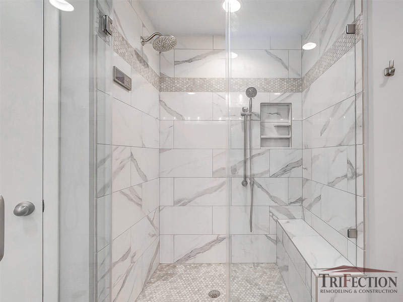 shower bench seat in bathroom renovation