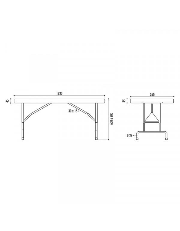 table traiteur pliante 183 x 76 cm reglable en hauteur