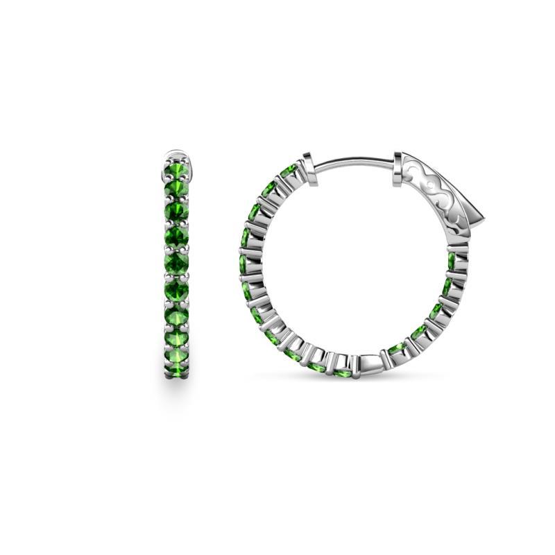 Carisa Green Garnet Hoop Earrings