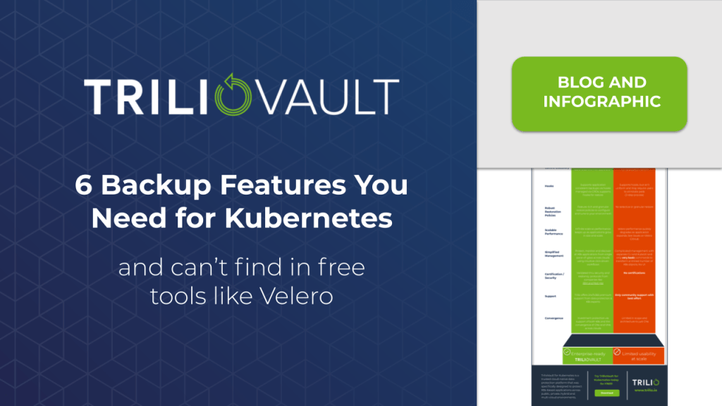 TrilioVault for Kubernetes vs. Velero -- Comparison of backup features
