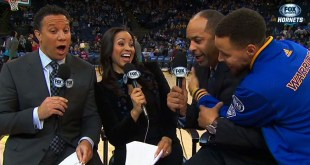 Steph Curry videobombs dad during pregame