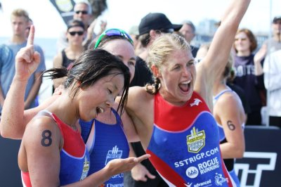 Tenille Hoogland, right, takes second place at the 2010 Super Sprint Triathlon Grand Prix Race, Oceanside, CA