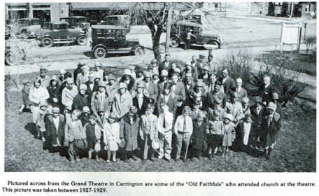 """""""Old Faithfuls"""" who attended church services at the theater. Taken between 1927-1929."""
