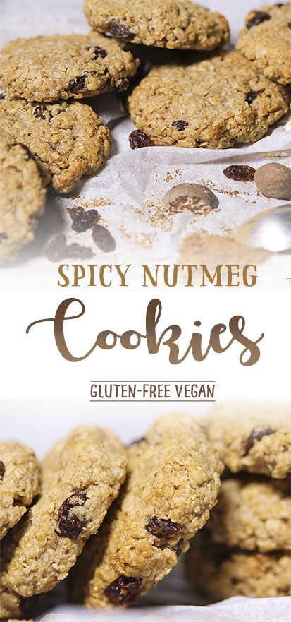Spicy nutmed cookies, made with gluten-free oats, cinnamon & raisins. Vegan recipe from Trinity Bourne