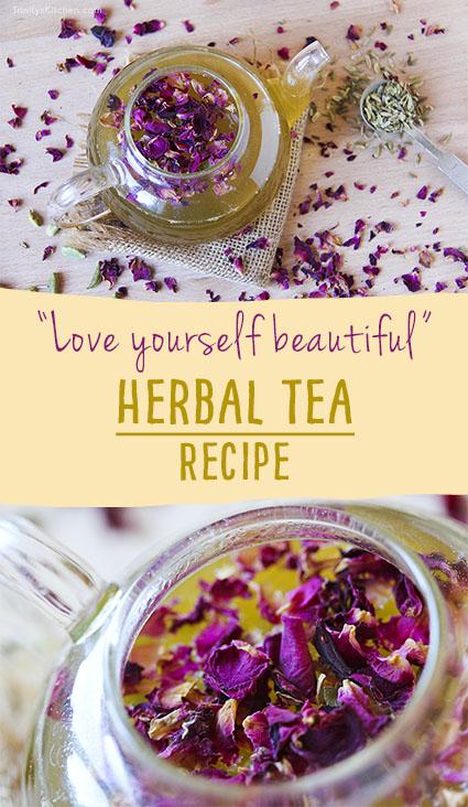 Homemade 'Love Yourself Beautiful' Herbal Tea by Trinity rose petals, liquorice, fennel