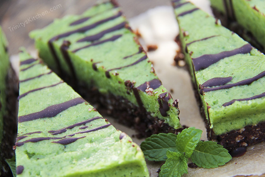 Raw Chocolate Mint Pie with Chocolate Brownie Base (gf vegan)
