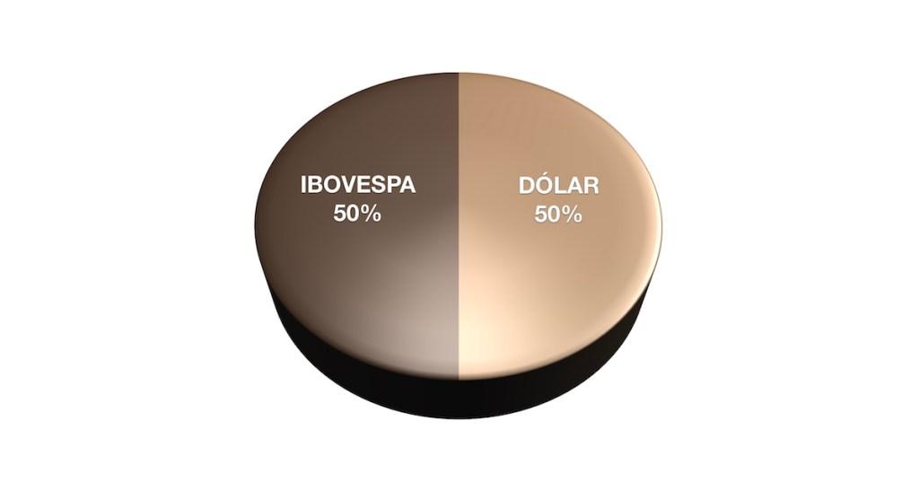 Ilustração de gráfico de pizza com Ibovespa e dólar compondo 50% cada