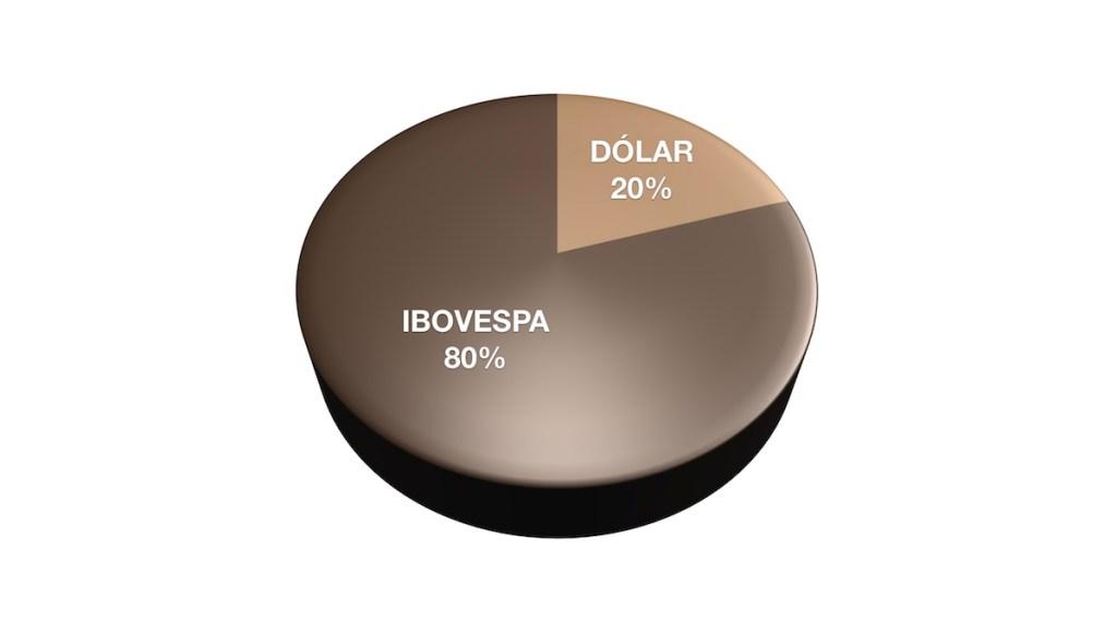 Ilustração com gráfico de pizza mostrando Ibovespa com 80% e Dólar com 20%