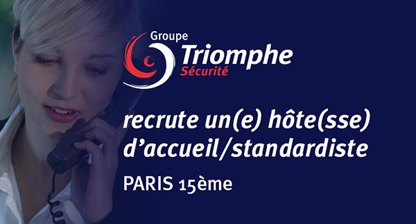 Le Groupe Triomphe Sécurité recrute un(e) hôte/hôtesse d'accueil pour son siège à Paris