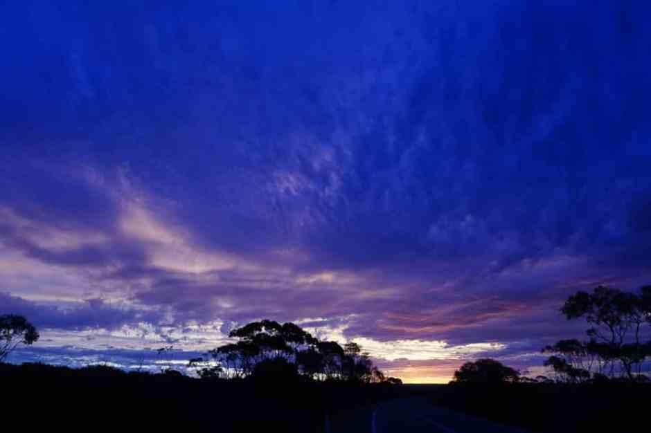 Le coucher du soleil au free camp