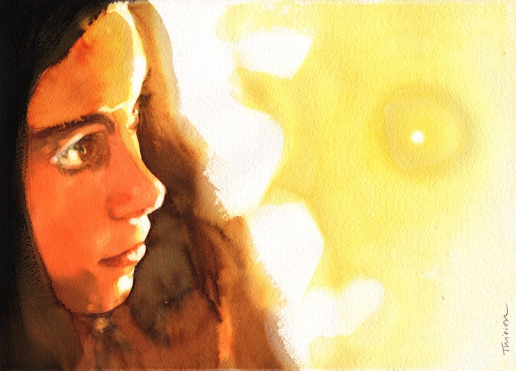 Watercolor portrait and composition technique