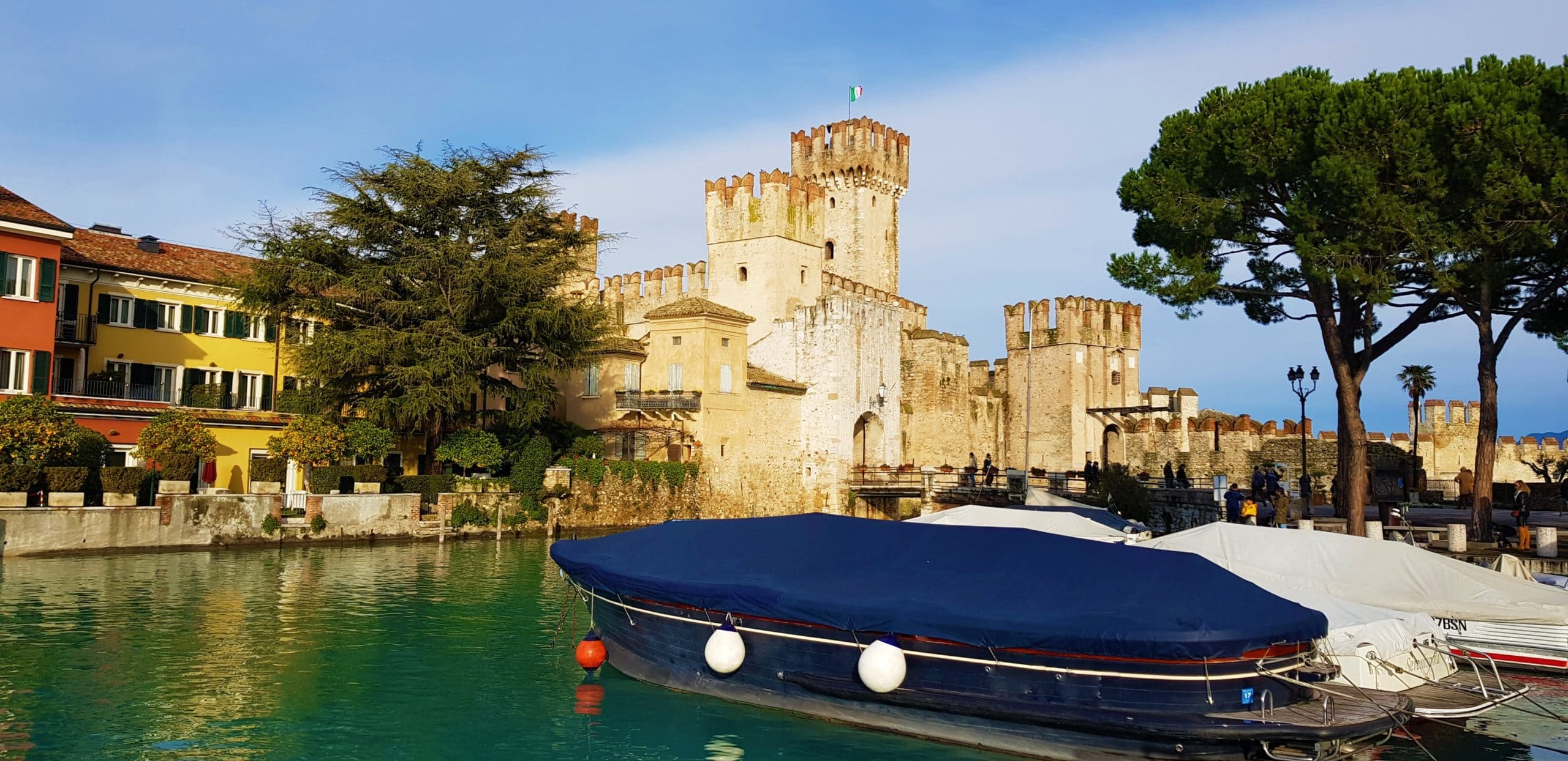 Italy Lake garde sirmione in winter castle