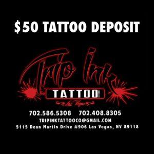 $50 tattoo deposit