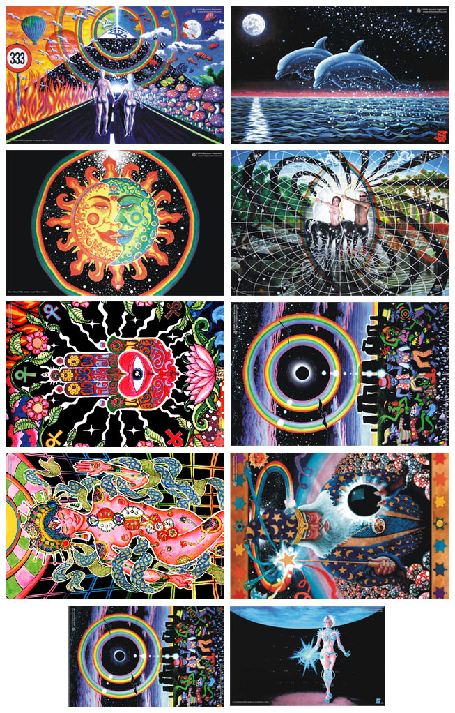 Set Of 10 UV Blacklight Amp Glow In The Dark Posters Tripleview Art Shop