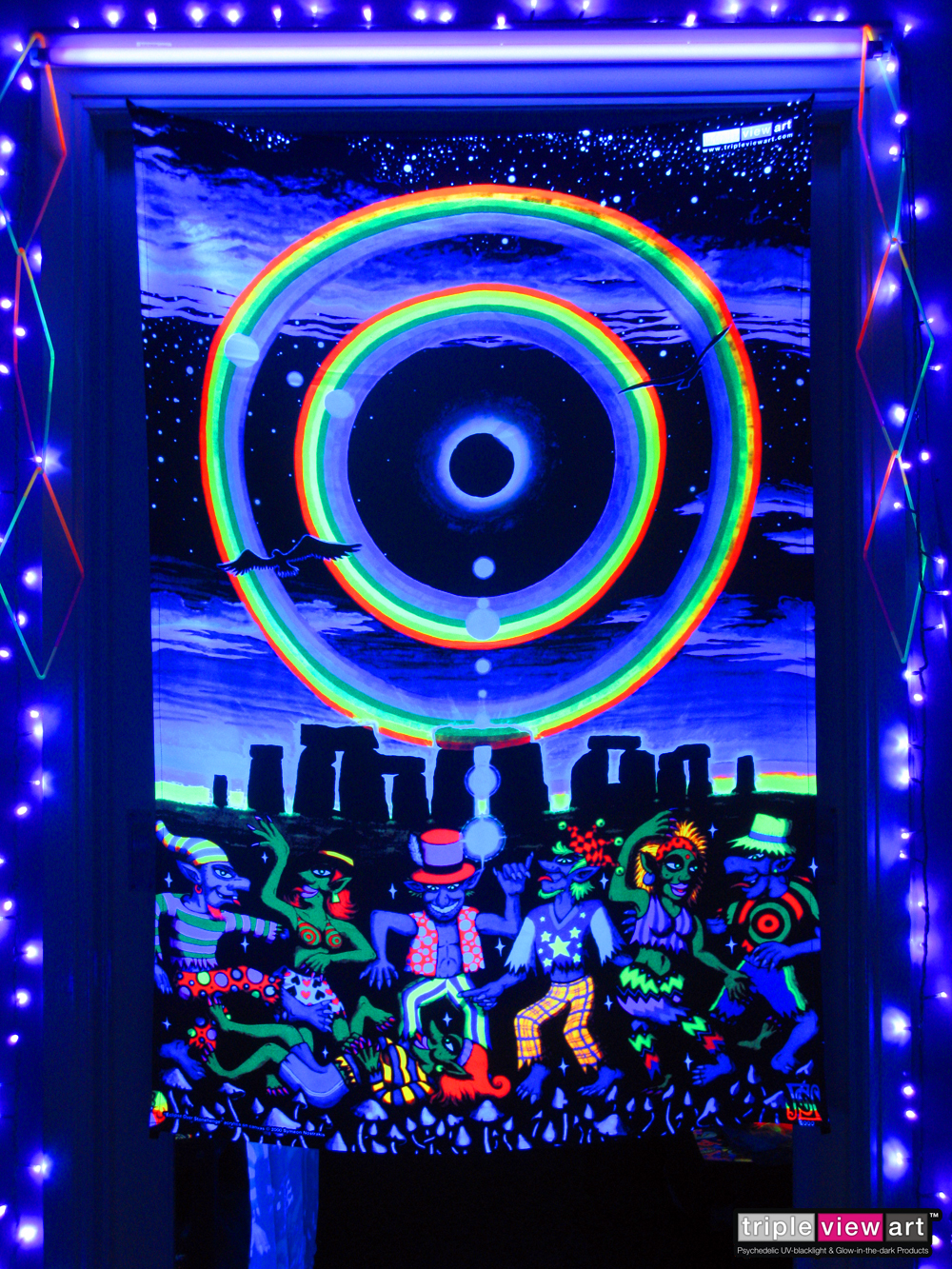Eclipse Over Stonehenge UV Blacklight Fluorescent Glow Psychedelic Visionary Art Backdrop