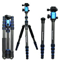 Brand New Koolehaoda Blue Q666c Carbon Fiber Portable Tripod with Ballhead for Camera Canon, Nikon, Sony, Samsung, Olympus