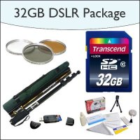 "32GB SDHC DSLR Package Including 32GB SDHC High Speed Memory Card, Opteka 67"" Professional Monopod, Opteka HD2 3 Piece (UV, PL, FL) Filter Kit, USB 2.0 SD/MMC Card Reader and Opteka 5 Piece Cleaning Kit for Nikon DSLR"