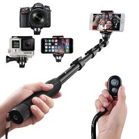 """Selfie Stick, Arespark Premium Extendable Handheld Portable Selfie Pole Selfie Monopod for Gopros, DSLR, Digital Cameras & Cellphones(iphone 6 6plus 5s 5c, Note 4, etc) Extended Range Approx 16""""-50"""" with Bluetooth Remote Shutter Control for Ios/android Phones Only, Aluminum Alloy"""