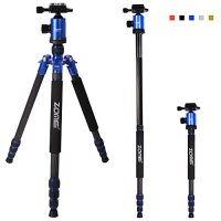 "Zomei Z818C 65-inch Lightweight Carbon Fiber Camera Tripod, Portable Monopod, 360 Degree Ball Head, 1/4"" Quick Release Plate - 40lbs(18kg) Load (Blue)"