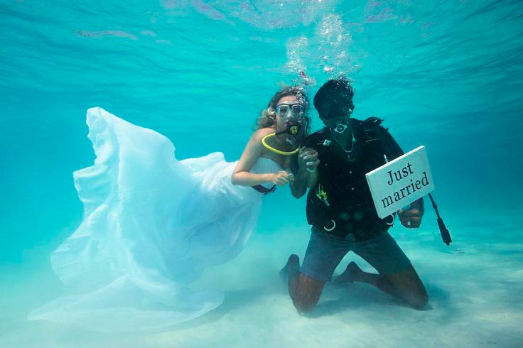 An underwater wedding at Maldives