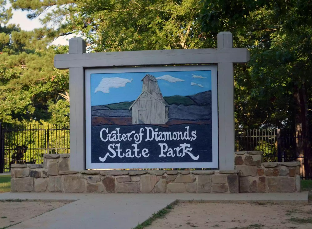 The entrance to Crater of Diamonds State Park