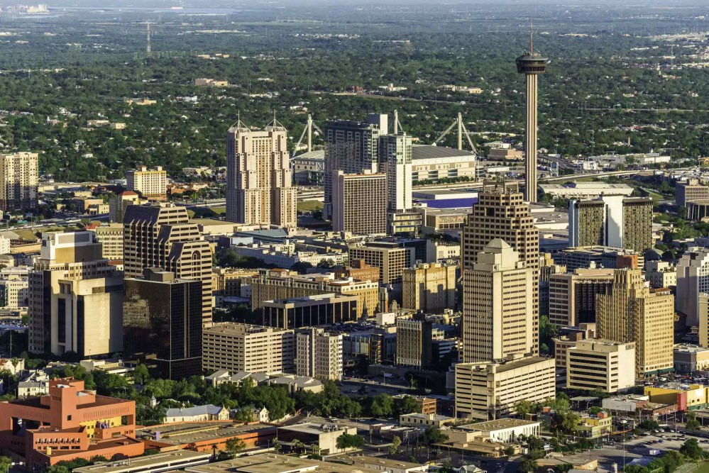 An aerial view of the San Antonio cityscape skyline