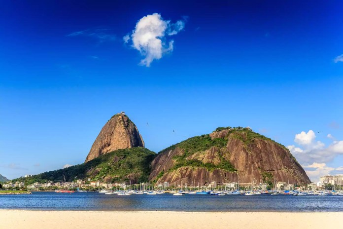 Harbor with boats against Sugarloaf Mountain, Rio de Janeiro, Brazil