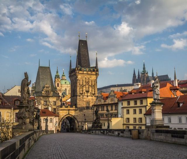 Czech Republic Prague View Of Mala Strana Bridge Tower And Prague Castle From Charles