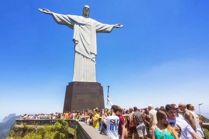 Tourists at Christ Redeemer Statue in Rio de Janeiro, Brazil