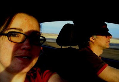 DD and DAMI driving in their Vibe across Canada.