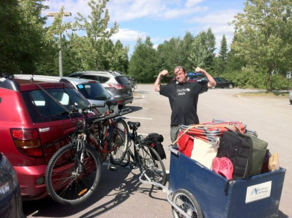 """We are at the start of our bike ride to the campsite. The trailer is packed and ready to be towed the 4km to the campsite. We are staying at """"Le Prospecteur"""""""
