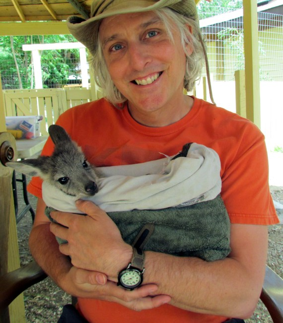 Cuddling a baby joey at the Kangaroo Creek Farm in Kelowna BC