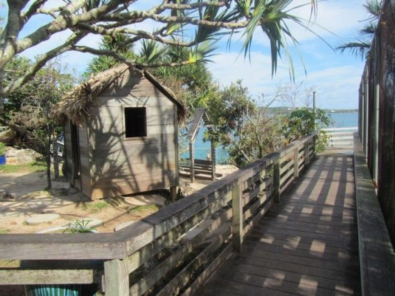The boardwalk with lovely views at the Bermuda zoo.
