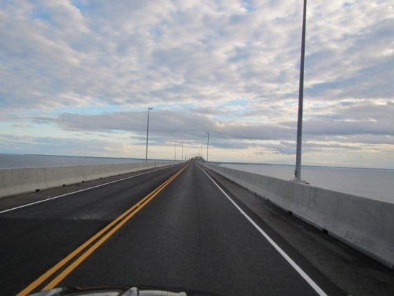 On our way back from PEI on the 13km confederation bridge. It costs $45 to leave the island.