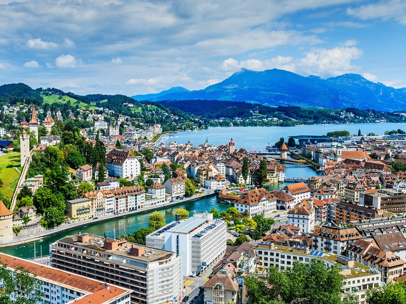 View from above of Lucerne city center and lake.
