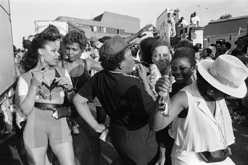Revellers at Notting Hill Carnival, Elkstone Road, 1991. Photogr