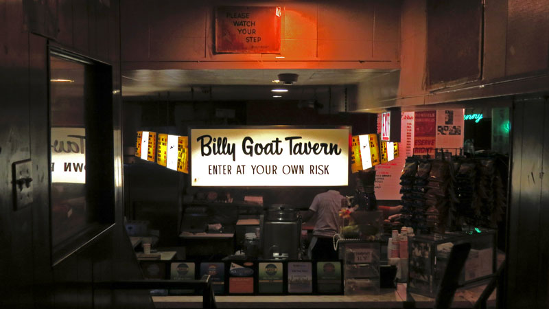 Entrance to the subterranean, Billy Goat Tavern, immortalized in a SNL skit.
