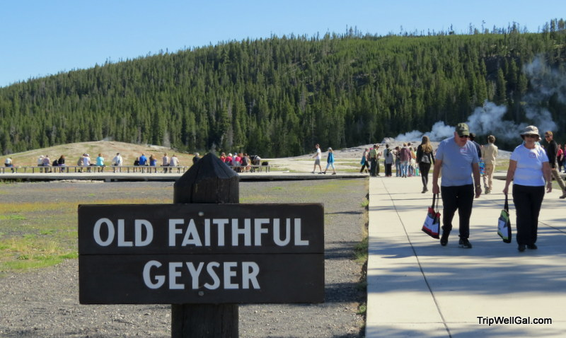 Old Faithful geyser path in Yellowstone Park
