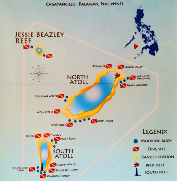 Map of dive sites inside the dive lounge at Tubbatha Reef
