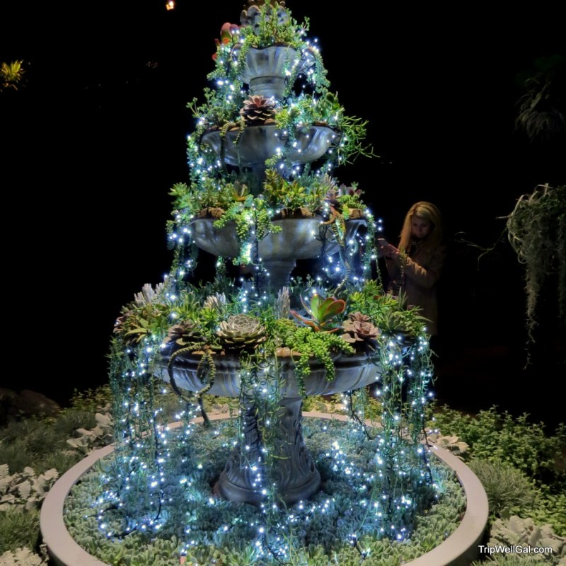 Tree decorated inside the Longwood Gardens conservatory