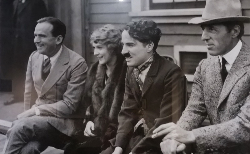 Douglas Fairbanks, Mary Pickford, Charlie Chaplin and D.W. Griffith on the day they signed contracts with United Artists