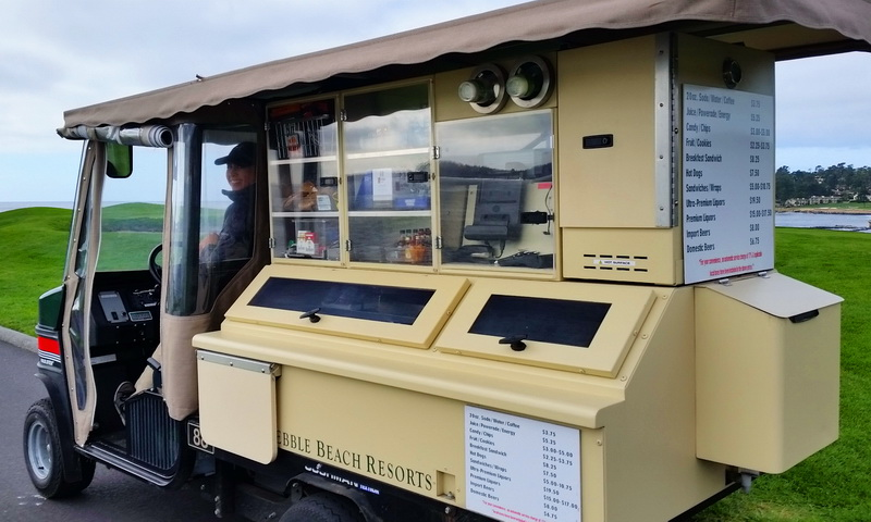 The mobile amenities cart is available for players at the Pebble Beach Golf Resort.