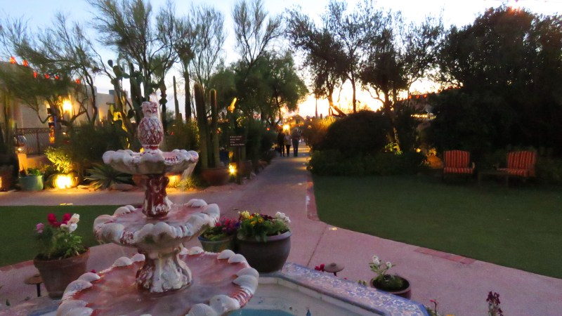 The entry fountain to the Hacienda Del Sol luxury resort