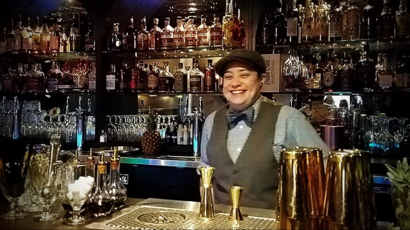 Bartender inside the 101 Proof Speakeasy