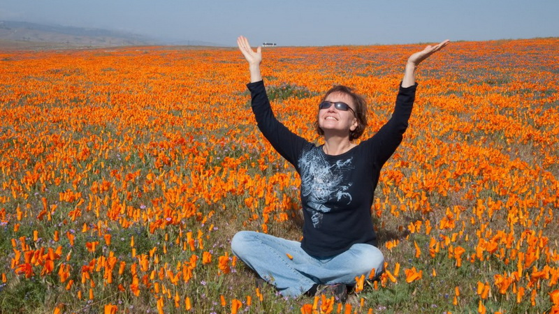 yoga in poppies at Antelope Preserve.