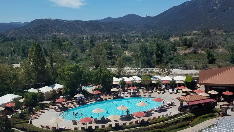 Pala casino pool and the hills surrounding