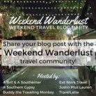 Weekend wanderlust badge for the weekly linkup