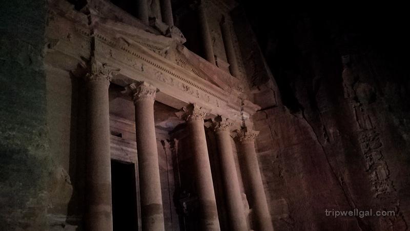 The Treasury light show inside Petra