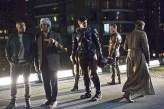 "DC's Legends of Tomorrow -- ""Pilot, Part 1"" Pictured (L-R): Franz Drameh as Jefferson ""Jax"" Jackson, Victor Garber as Professor Martin Stein, Brandon Routh as Ray Palmer/Atom, Falk Hentschel as Carter Hall/Hawkman and Arthur Darvill as Rip Hunter -- Photo: Jeff Weddell/The CW © 2015 The CW Network, LLC. All Rights Reserved."